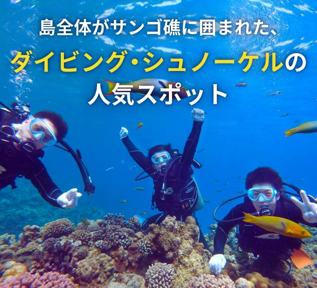 島全体がサンゴ礁に囲まれた、 ダイビング・シュノーケルの人気スポット