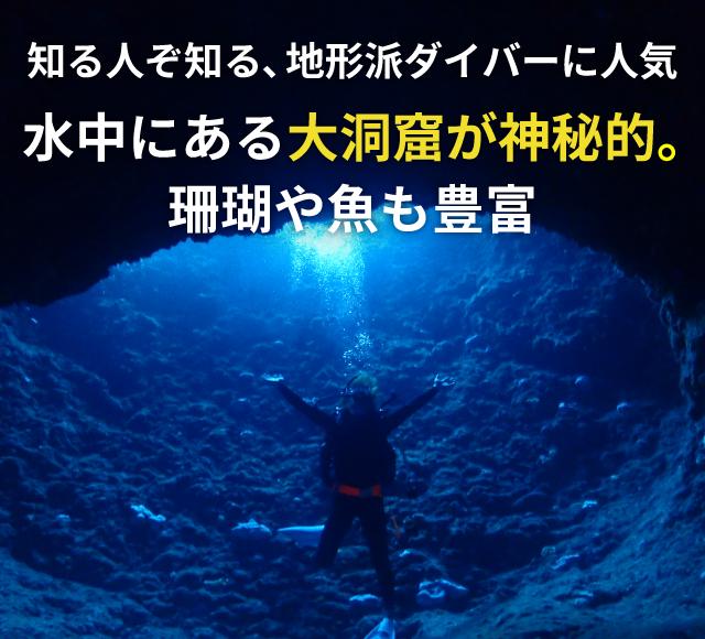 知る人ぞ知る、地形派ダイバーに人気 水中にある大洞窟が神秘的。珊瑚や魚も豊富